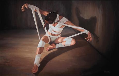 L'EVEIL DU CYGNE, 2012, huile sur toile, cm 160 x 100
