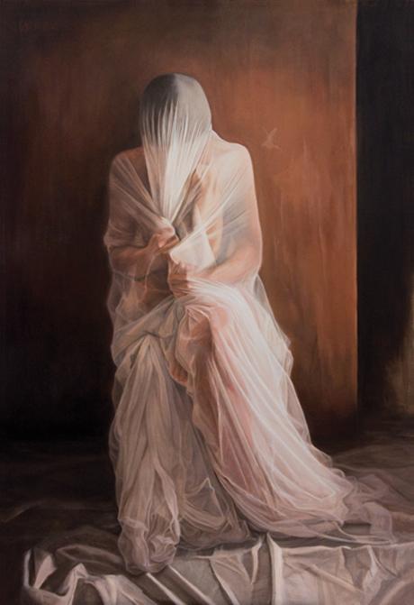 INTIMITE, 2012, huile sur toile, cm 50 x 90